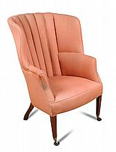 A Regency upholstered wing back chair,