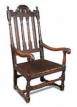 A Carolean oak armchair,