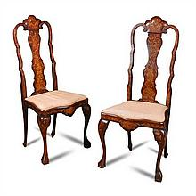 A pair of late 18th century Dutch walnut side chairs,
