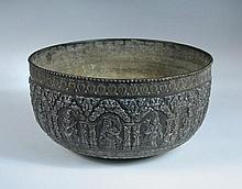 A 19th century Indian silver damascened copper bowl,