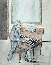 French School (18th Century) Portait of Wolfgang Amadeus Mozart playing a double-manual harpsichord inscribed lower centre
