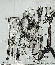 Thomas Orde, Lord Bolton (British, 1740-1807) Mr Sharp playing the Cello at Cambridge, 1777 inscribed with title verso