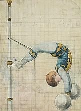 German School (19th Century) A Circus poster design - a trapeze artist