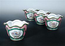 A set of four 19th century Paris Sevres style cache pots,