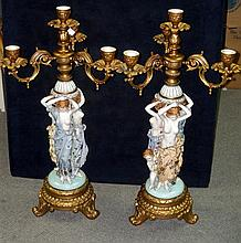 A pair of 20th century Dresden candelabra,