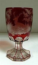 A Bohemian ruby overlay goblet,
