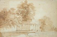 William Daniell (British, 1769-1837)  - Juanpore Moghul Tomb - signed lower left with initials
