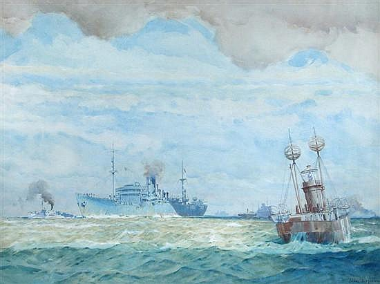 James Mann - A Convoy - watercolour