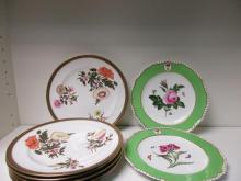 A pair of Bloor Derby plates together six Royal Worcester plates, date codes for 1887,
