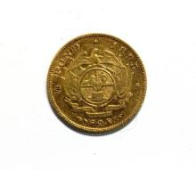 South Africa - a gold half pond coin,