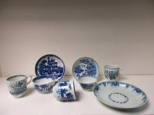 A collection of 18th century Worcester blue and white tea and coffee wares,