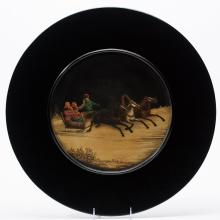 A Large Russian Lacquer Plate, Vishnyakov, 19th c.