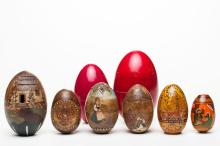 A Set Of Russian Wood Easter Eggs, 19th c.