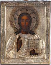 A Russian Icon Of Jesus Christ Pantocrator, 19th C.