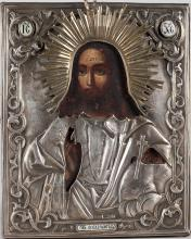 A Russian Icon Of Christ Pantocrator, 19th C.