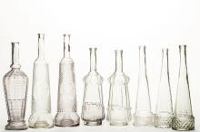 Eight Russian Glass Bottles, c. 1900