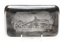A Russian Silver & Niello  Cigar Case, 1872