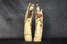 An exceptional pair of Chinese 19th century ivory figures de