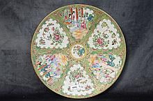 A finest Chinese 19th century porcelain plate with figure an