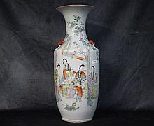 A good tall Chinese porcelain vase with hand painted figure