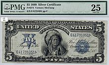 $5 Silver Certificate- 1899 Series, Blue Seal