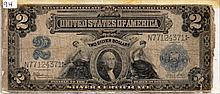 $2 Bill- 1899 Series. Signed Speelman And White.