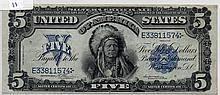 $5 Silver Certificate- 1899 Series Blue Seal