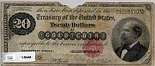 $20 Bill- Gold Certificate. 1882 Series. Signed