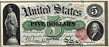 $5 Bill- 1863 Series. Signed Chittenden And