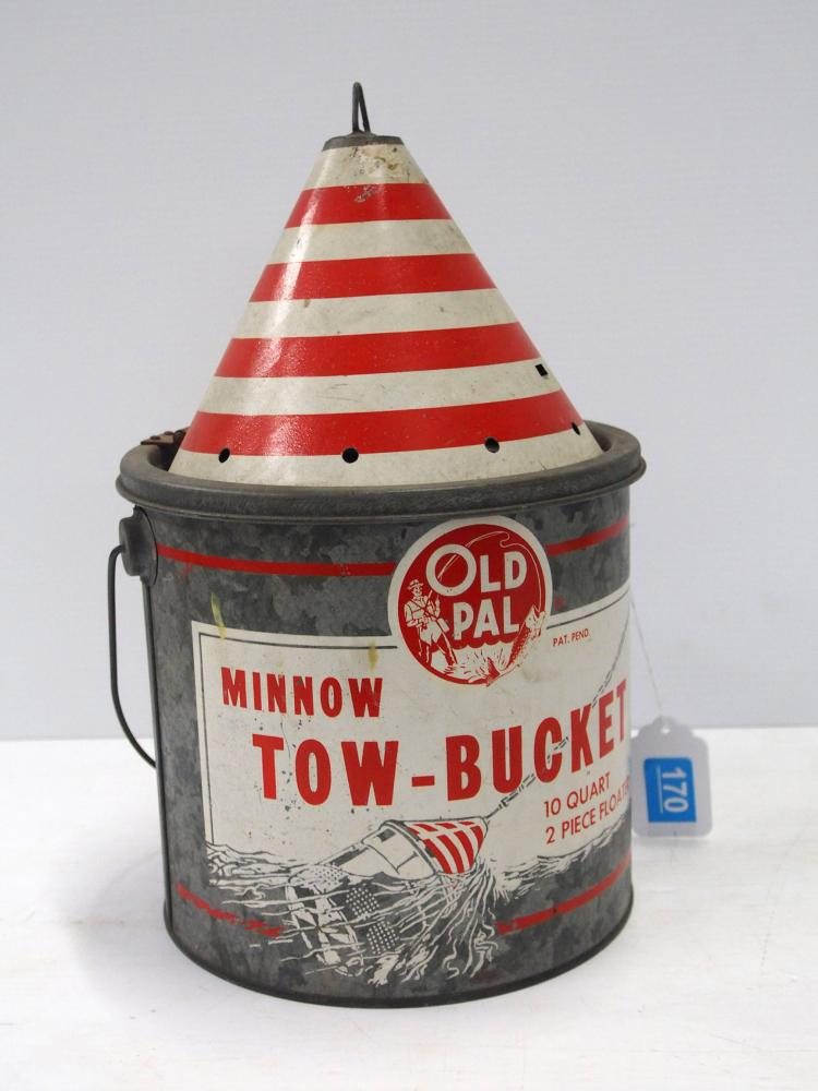 Lot 4170: Tin Old Pal Tow Minnow Bucket
