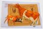 Tin DeLaval Guernsey cow & calf with envelope