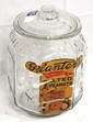 Glass Planters Peanuts display jar with lots of embossing & original label, label is rough