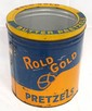 5 gallon Rold Gold Pretzel tin with glass top