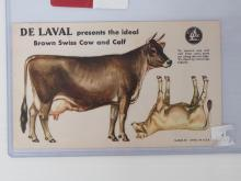 Unpunched paper DeLaval Brown Swiss cow & calf set