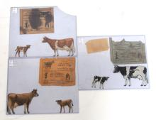 (3) Sets Tin, Die-Dut DeLaval Cow, Calf & Envelope Sets