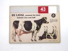 NOS Cardboard Punch-Out DeLaval Holstein Cow & Calf