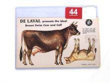NOS Cardboard Punch-Out DeLaval Brown Swiss Cow & Calf