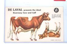 NOS Cardboard Punch-Out DeLaval Guernsey Cow & Calf