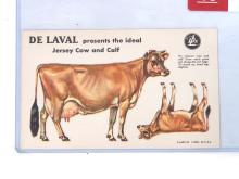 NOS Cardboard Punch-Out DeLaval Jersey Cow & Calf