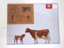 Tin Die-Cut DeLaval Guernsey Cow & Calf Set with Envelope