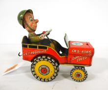 Marx Wind-Up GI Joe Jumpin Jeep with Key