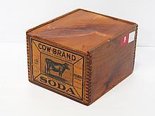 Wooden Cow Brand soda box