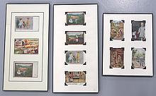 Set of (11) different Sharples trade cards in plastic frames