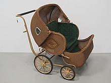 Wicker Double Baby Carriage