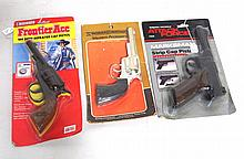 (3) NIB blister pack cap pistols: Nichols Western Heritage, Lone Star Frontier Ace, Nichols Attack Force