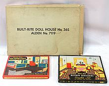 (3) NOS Built Rite sets: No.36S Doll Set, No.77 Bedroom Furniture Set, No.49 Kitchen Furniture