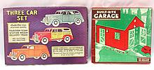 NOS Built-Rite No.7 Garage Set & partial Built Rite Car Set - Garage box & contents near mint, Car box very good, contents very good