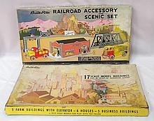 (2) Built-Rite sets with original boxes - #375 Railroad Accessory & Scenic Set w/fair box & great contents, #128 Scale Model Buildings Set w/parts missing but box is good with tears