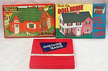 Built-Rite Checker game, #8 Toy House & #10 Doll House - all great condition with original boxes