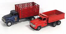 International Truck with Hydraulic Dump Bed & Tonka Farms Stake Bed Truck -  hydraulic does not work, both fair to good with play wear